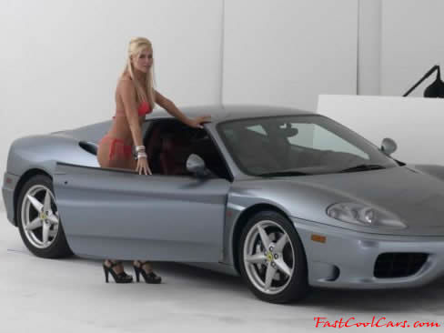 Sexy blonde model with a fast cool 1999 Ferrari Modena