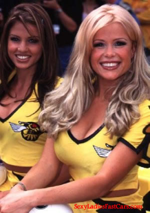 Benson and Hedges racing models doing promotional shots.