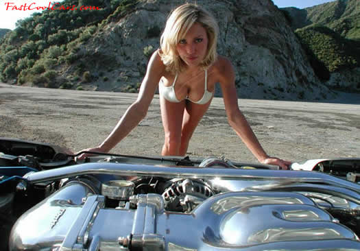 Pretty lady with lots of polished aluminum engine parts