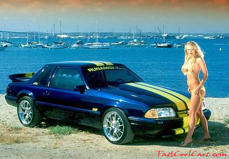 Sexy Lady and Fast Cool Car Ford Mustang