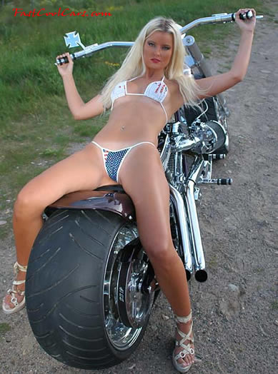 sexy woman on a motorcycle