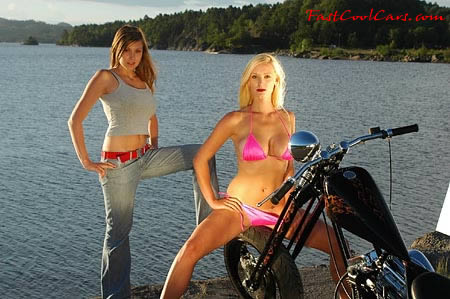 pretty women with motorcycle