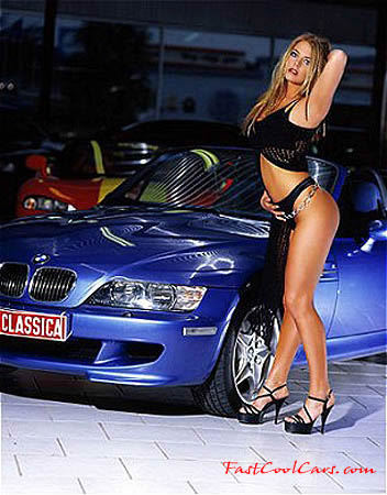 Sexy model with sharp BMW