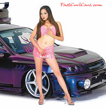 beautiful woman with Import car