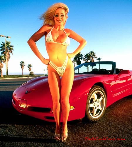 Sexy blonde with C5 Chevrolet Corvette