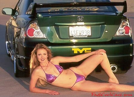 Pretty lady and import car
