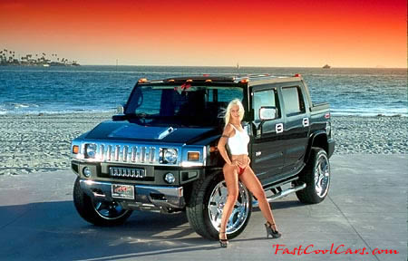 Beautiful lady and cool Hummer