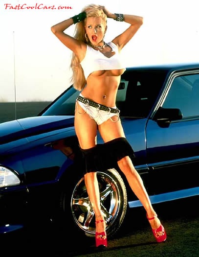 Fast Cool Ford Mustang GT and pretty blonde model