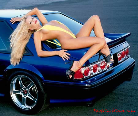 Fast Cool Ford Mustang GT and blonde model
