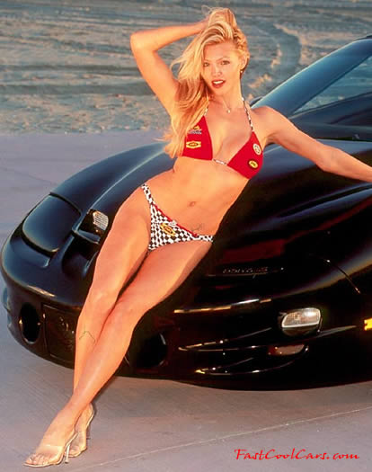 Sexy lady with Pontiac Ram Air Trans Am