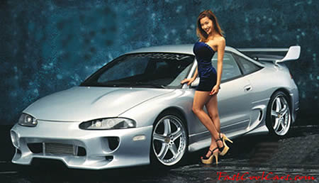 Fast and the furious type car with young lady