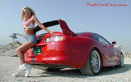 Toyota Supra twin turbo with lovely blonde model