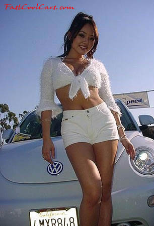 VW Bug with beautiful young lady