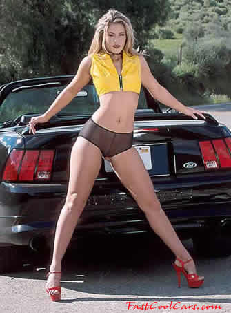 Ford Mustang, Chrome Cobra R's, nice lady cool stance