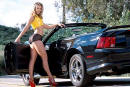 Ford Mustang, Chrome Cobra R's, nice lady, side view is cool