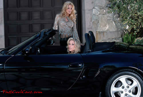 Porsche convertible, two blonde ladies