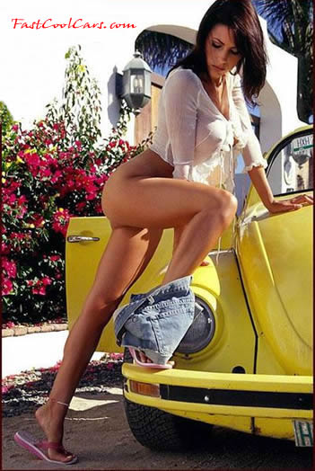 Model with classic VW Bug convertible