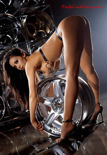 Model with large aftermarket wheels