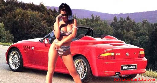 Sexy lady and here sportscar.