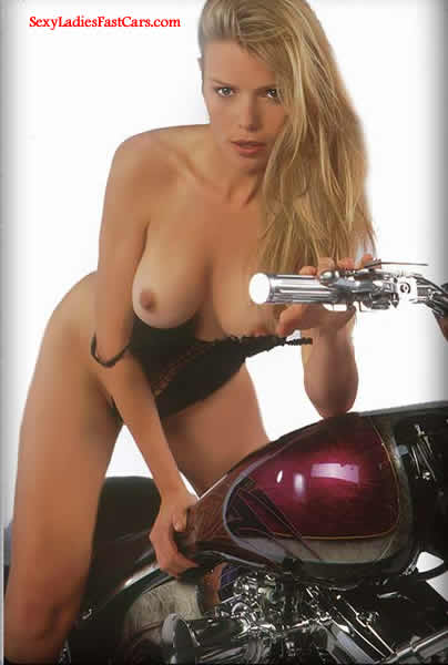 Beautiful blonde girl on motorcycle, Pimp my Ride.