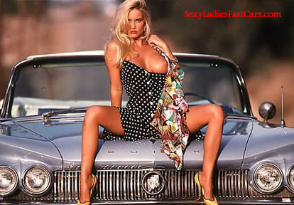 Sexy lady with classic convertible american car