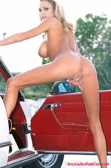 Very Sexy blonde lady with her beautiful Classic Mercedes car.